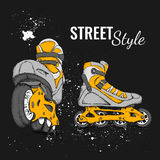 Roller Skate And Grunge Texture Background. Vector Illustration. Royalty Free Stock Photo