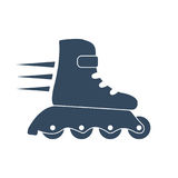 Roller skate icon. Black silhouette on a white background. Sports Equipment. Vector illustration of flat design style vector illustration