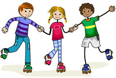 Roller Skate Kids Stock Photo
