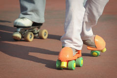 Roller skate lessons Royalty Free Stock Images