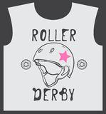 Roller_skate_and_roller_derby_graphic_design_for_t-shirt 免版税库存图片