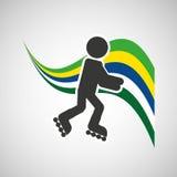 Roller skate sportsman flag background design Stock Photo