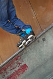 Roller in a skatepark Stock Image