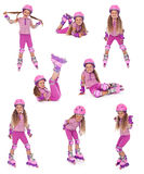 Roller skater girl in  different positions Royalty Free Stock Images
