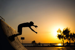 Roller skater jumps Stock Photography