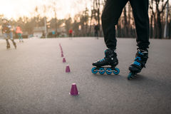 Roller skater legs in skates on asphalt walkway. In city park. Male rollerskater leisure Stock Photos