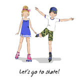 Roller skater. Skating girl, boy. Cartoon couple. Royalty Free Stock Image