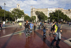 Roller skaters in Barcelona, Spain Stock Photos