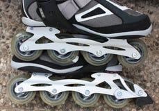 Roller skates. Grey roller skates with wheels Stock Photos