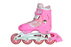 Roller skates. Pink roller skates are photographed on a white background Royalty Free Stock Photography