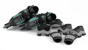 Roller skates with equipment  Stock Photos