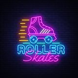 Roller Skates Neon Sign Vector. Retro quad roller skates neon logo, design template, modern trend design, night neon. Signboard, night bright advertising, light vector illustration