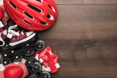Roller skates and protection stock photography