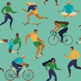 Roller skates, running, bicycle, walk, yoga. Vector seamless pattern with active young people. Healthy lifestyle. Design elements. Royalty Free Stock Images