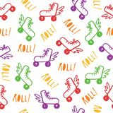 Roller Skates Seamless Pattern with Retro Color vector illustration