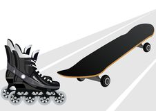 Roller skates and skateboards Stock Photography