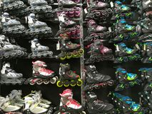Roller skates in the store Royalty Free Stock Photo
