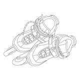 Roller skates 01. Vector line art roller skates. Hand-drawn vector illustration. Can be used for graphic design, textile design or web design Stock Photo