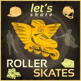 Roller Skates Vintage Poster Royalty Free Stock Photos