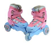 Roller skates on the white background Stock Photo