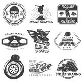 Roller Skating Black White Labels Stock Photos
