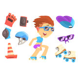 Roller skating boy, set for label design. Colorful cartoon detailed Illustrations Royalty Free Stock Photos