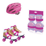 Roller skating. Cute cartoon equipment set. protective gloves, helmet and stuff. Flat style  illustration. Royalty Free Stock Images