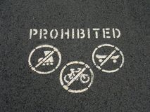 Roller Skating, Cycling and Skate Boarding Prohibited Royalty Free Stock Images