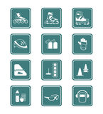 Roller skating icons | TEAL series Stock Photo