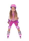 Roller skating little girl laughing - isolated Royalty Free Stock Photography