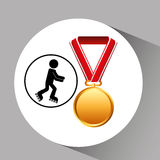 Roller skating medal sport extreme graphic Stock Image