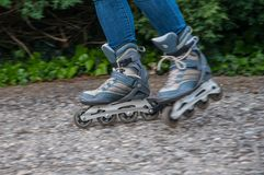 Roller skating motion blur royalty free stock photography