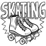 Roller skating sketch. Doodle style roller skating illustration in vector format. Includes text and skates Stock Photography