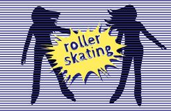 Roller skating. Striped background, silhouettes of young girls and comic burst speech bubble. Roller skating. The inscription is handwritten with grunge stroke vector illustration