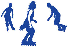 Roller skating teenager vector silhouettes Stock Photo