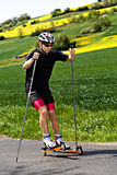 Roller skiing Stock Photo