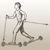 Roller skiing sketch of man. Guy roller skiing on the light brown background. Man roller skiing. Art design for sport Stock Photos