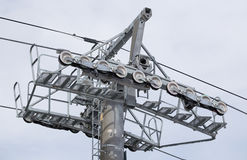 Roller system of ski lift in the ski resort. Royalty Free Stock Photography