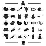 Roller, watermelon and other web icon in black style. pepper, holster, thread icons in set collection. Royalty Free Stock Images
