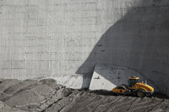 A roller working at a reservoir construction sit Royalty Free Stock Photos