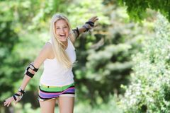 Rollerblade / roller skating woman Stock Images