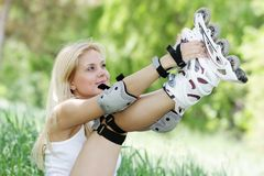 Rollerblade / roller skating woman Stock Photos