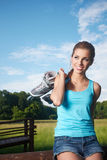 Rollerblade / roller skating woman Stock Image