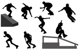 Rollerblade silhouettes Stock Images