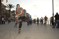 Rollerblader, Beirut. A rollerblader, Beirut city seafront Royalty Free Stock Photo