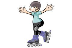 Rollerblader boy isolated on white - Cartoon style Royalty Free Stock Images