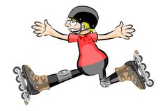 Rollerblader boy isolated on white - Cartoon style Royalty Free Stock Photography