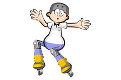 Rollerblader boy isolated on white - Cartoon style Stock Images