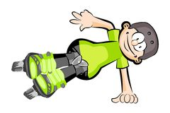 Rollerblader boy isolated on white - Cartoon style Stock Photography