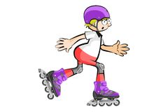 Rollerblader boy isolated on white - Cartoon style Royalty Free Stock Image
